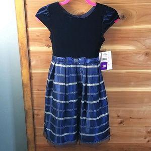 Jona Michelle Navy Kids Dress (size 10)